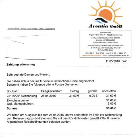 Zahlungserinnerung von Aventia  - (Finanzen, Zahlen, GmbH)