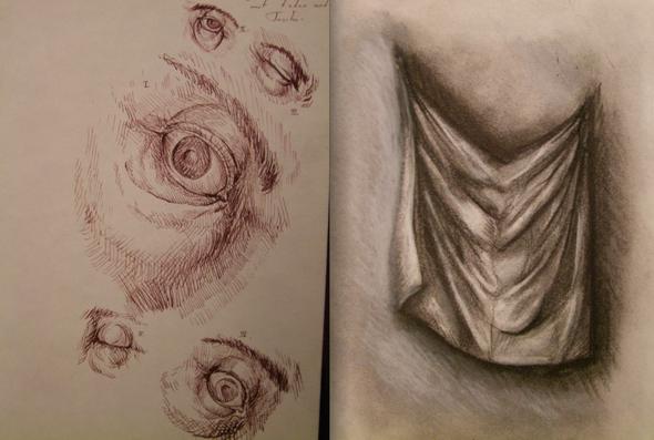 eye and folds studys - (Studium, Kunst, zeichnen)