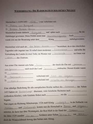 Habsburger Lückentext?