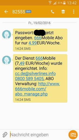 Bekommene SMS - (Internet, Geld, Betrug)