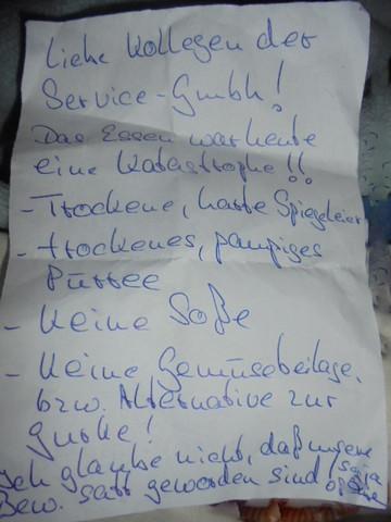 - (essen, Beschwerdebrief, Großküche)