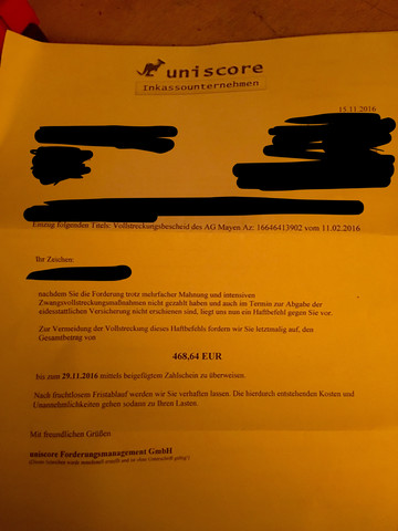 Haftbefehl Von Inkasso Unternehmen Inkassounternehmen