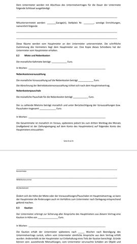 Untermietervertrag - (Recht, Mietrecht, Miete)