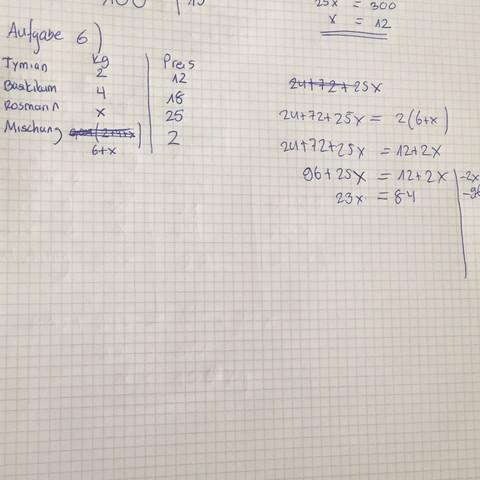 Aufgabe 6  - (Mathematik, Mischungsrechnungen)
