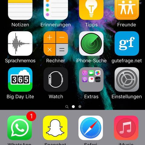 Der graue Bereich wo sich Whatsapp, Snapchat, Safari ubd iMusic befinden. - (Apple, Smartphone, Hintergrund)