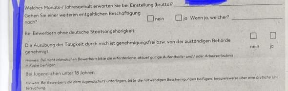 Hallo ich brauche einmal ganz kurz Hilfe bei der Personalfragebogen von Kaufland?