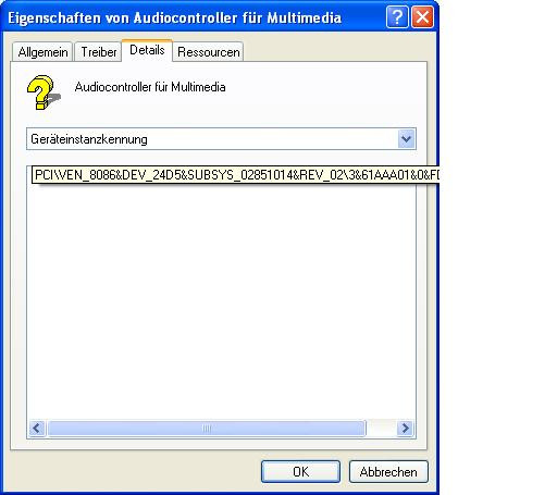 Details Audiocontroller - (Windows, Treiber, IBM)