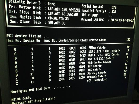 Hier sieht man unten links die meldung NTLDR fehlt  - (PC, NTLDR)