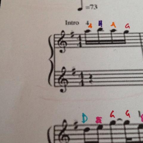 Klammer mit zweimal rechts - (Noten, Klavier)