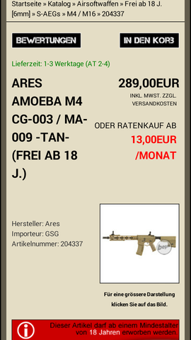 ares amoeba 009  - (Freizeit, Softair, Airsoft)