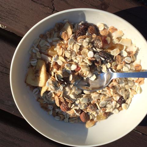 Das Müsli mit Haferflocken und getrockneten Früchten  - (gesund, Frühstück, Ernährungsumstellung)