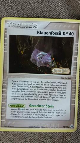 Trainer Klauenfossil, Ex Legend Maker, Holo, aus dem Jahr 2006 78/92 Raute - (Pokemon, sammeln)