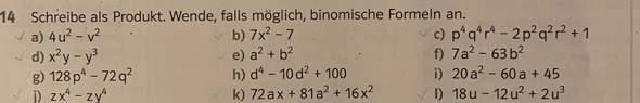 Hallo, kann jemand mir bei der Aufgabe 14h helfen (Binomische Formeln?