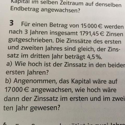Hilfe bei 3a) - (Mathe, Mathematik, Zinsen)