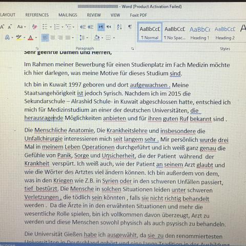 Motivationsschreiben - (deutsch, Lehrer, korrigieren)