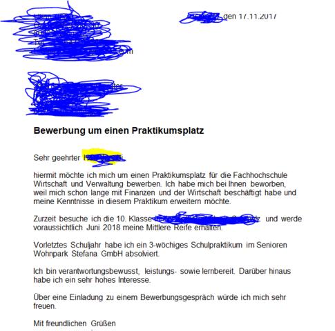 bewerbung deutsch bewerbung praktikum - Wie Bewerbe Ich Mich Fr Ein Praktikum