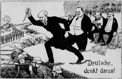 Karikatur Dolchstoss Legende - (Schule, Geschichte, Karikatur)