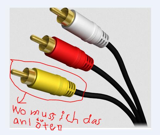 Das Kabel kommt an die Xbox. Aber Wo kommt das gelbe kabel an dem Vga Kabel? - (Xbox 360, xbox360, selber machen)