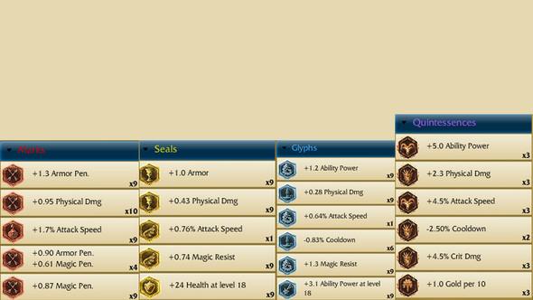 Hier meine verfügbaren Runen - (Account, Verkauf, League of Legends)
