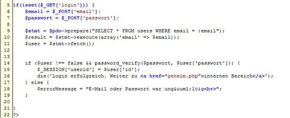 Hier mein Code Ausschnitt von Fehler - (PHP, Datenbank)
