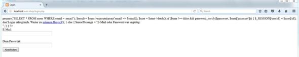 Hier die aktuelle Ausgabe im Firefox Browser  - (PHP, Datenbank)