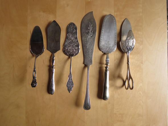 Antike Tortenheber - (Silber, Antik, versilbert)