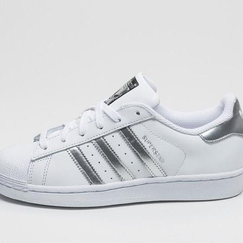 Adidas Superstars  Weiß-Silber  Größe 39 - (Superstar, Weiß silber)