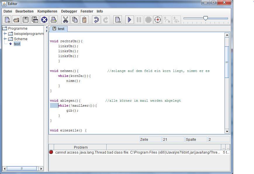 Hamstersimulator - cannot access java.lang thread (Programm ...