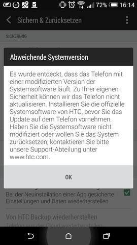 Anzeigeinformation nach Update-Versuch - (Systemfehler, Htc one m8, Sytem Update)