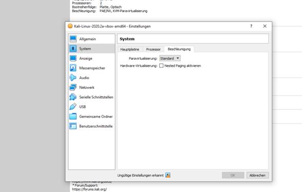 Hardware Virtualisierung deaktivieren VB?