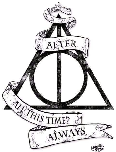 Harry Potter Tattoo Heiligt mer des Todes mit Spruch