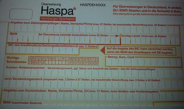 Haspa-Überweisungsschein (Bank, Überweisung, Kontonummer)