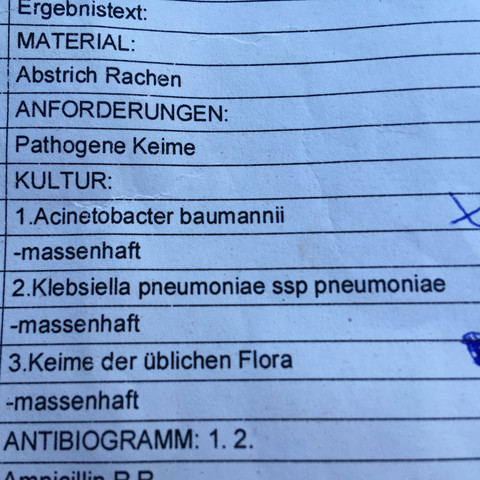 Ergebnis/ Abstrich/ Rachen  - (Arzt, Krankheit, Medikamente)