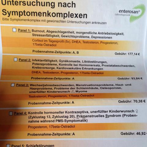 Untersuchungen  - (Test, Hormone, Speichel)