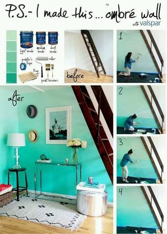 hat jemand tipps beim ombr wand streichen farbe zimmer ombre. Black Bedroom Furniture Sets. Home Design Ideas