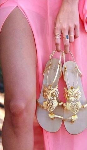 Sandalen mit Eulen - (Schuhe, Gold, eule)
