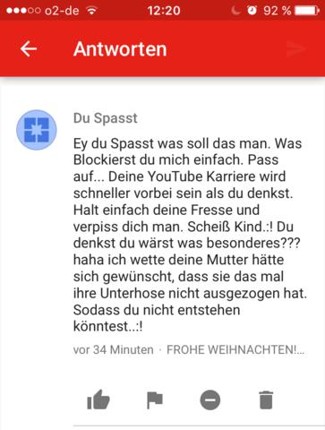 Haterkommentar - Screenshot vom Handy - (Youtube, Video, Account)