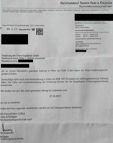 Hauptforderung Von Vodafone Beglichen Inkasso Büro Infoscore Nicht