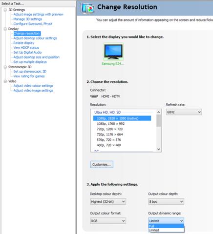 HDMI Bildschirm Farbraum anpassen / Nvidia Systemsteuerung / blasse Schwarzwerte?