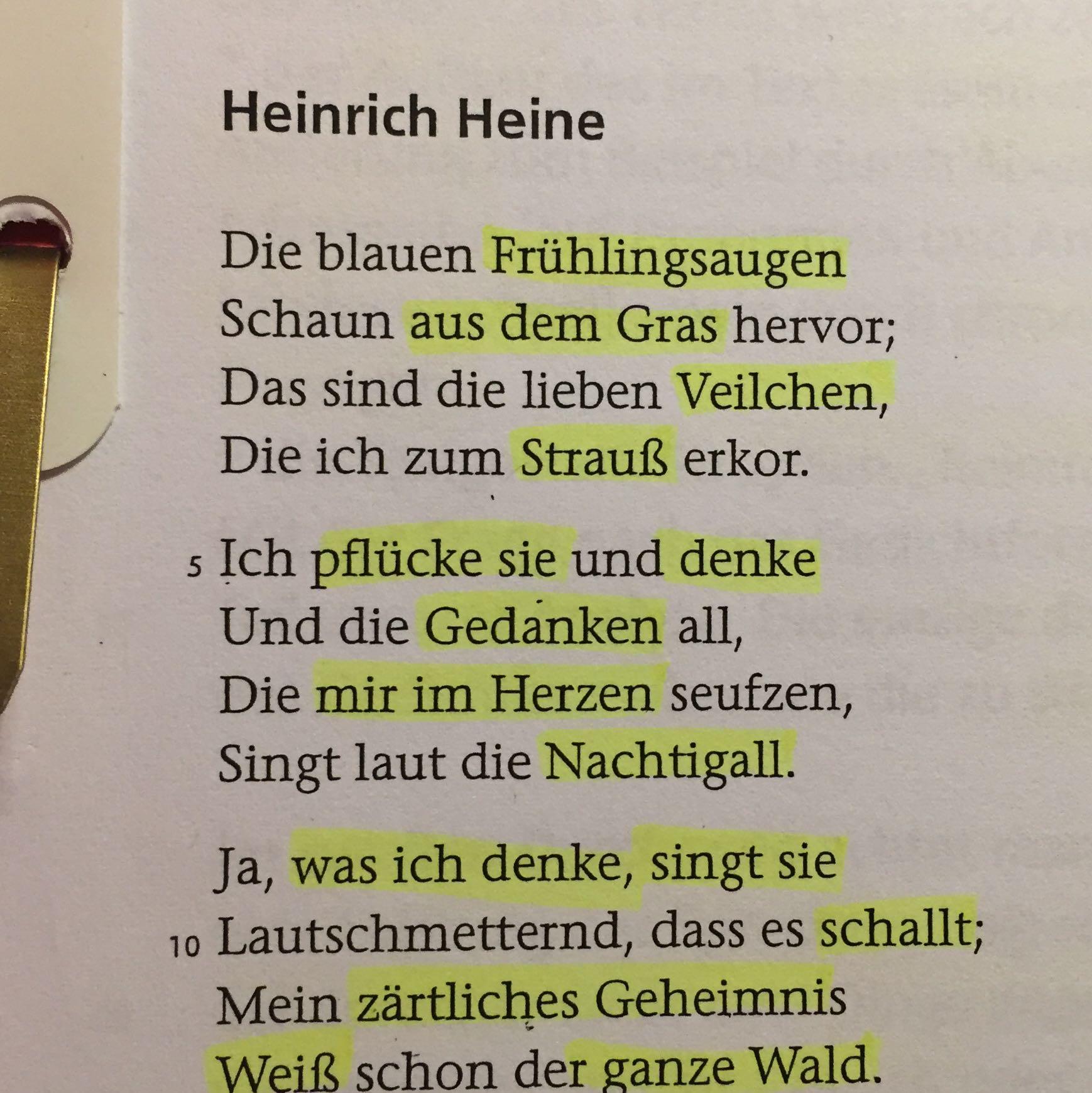 Heinrich Heine Kernmotiv Nachtigall Gedicht Analyse Lyrik