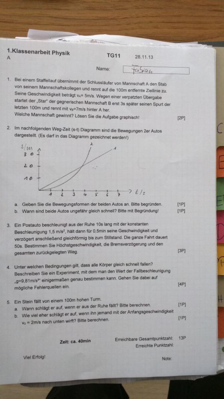 Hey kann mir jemand die Lösungen für diese Klassenarbeit schicken ...