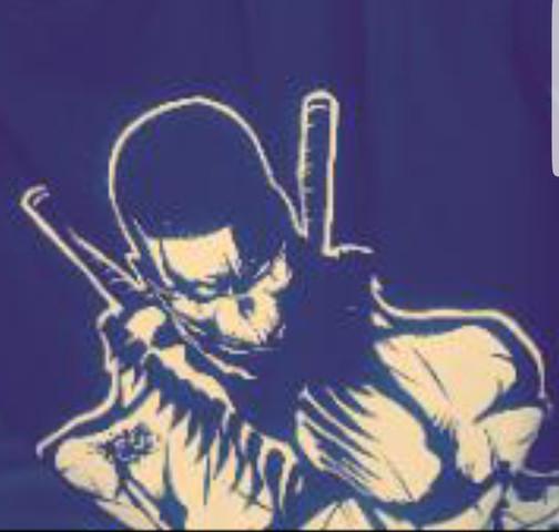 Meine Figur hat ein schwarzes Shirt und zwei schwarze Katanas - (Zeichnung, comic figur)