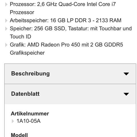 Infos MacBook Pro 2016 15 Zoll  - (Spiele und Gaming, spielen, Laptop)