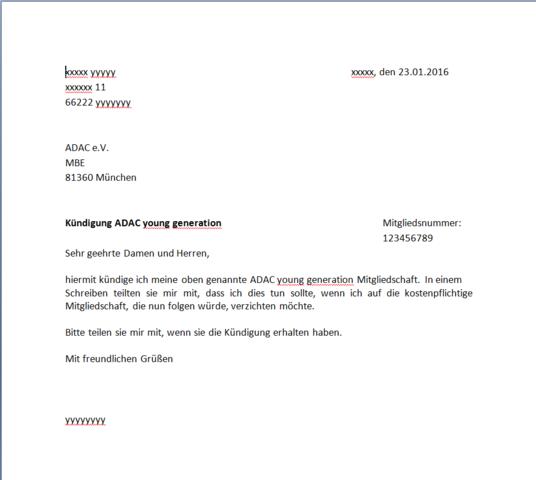 ADAC Kündigung - (Kündigung, Brief, Formular)