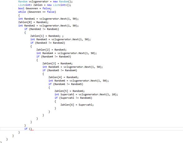 Wollte Lotto programmieren und hier ist ein Teil davon also der Rest wird festg. - (Funktion, C Sharp, If)
