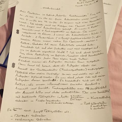 Wochenbericht Praktikum Altenheim