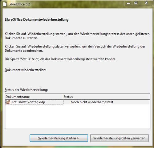 """""""Dokumentwiederherstellung"""" - (PC, Schreibprogramm)"""