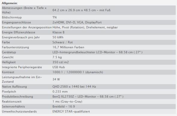 BenQ XL2730Z (567 CHF) - (Monitor, Auswahl, Benq)