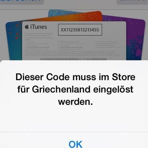 österreichische itunes karte in deutschland einlösen Hilfe :'( Ich habe mir eine iTunes Guthaben Karte aus Griechenland