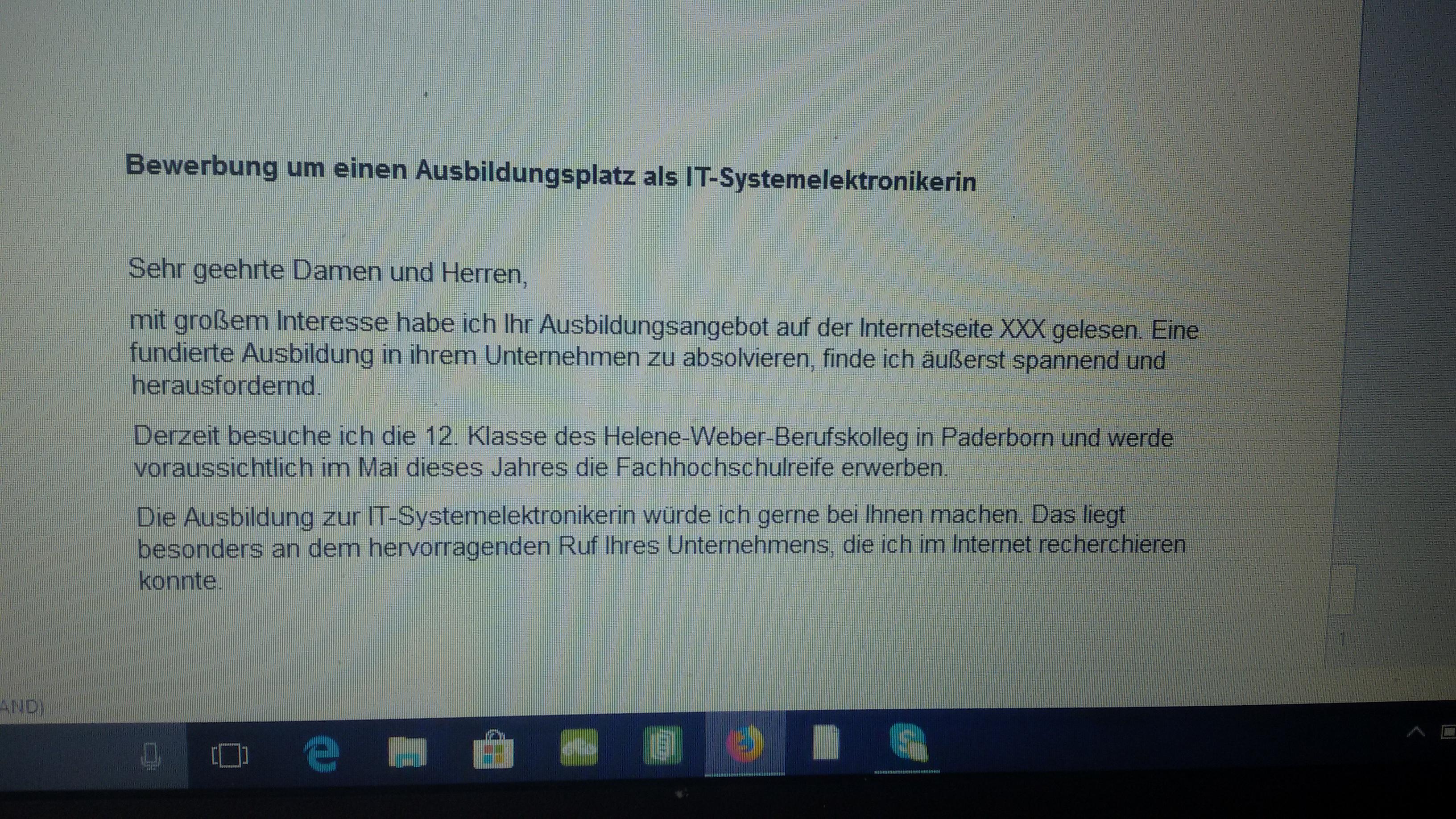 Hilfe bei der Bewerbung IT-Systemelektroniker? (Schule, Ausbildung,  Ausbildung und Studium)